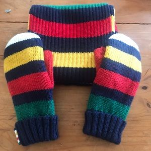 Hudson Bay Wool Blend Multicolored Scarf & Mittens